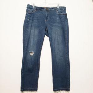 Kut from the Kloth Hi Rise Raw Hem Skinny Jeans
